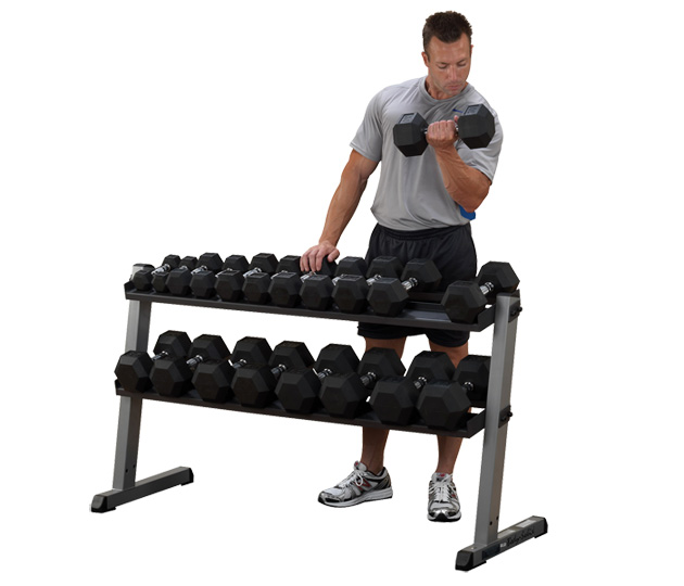 Body solid 62 Inch Wide 2 Tier Dumbbell Rack